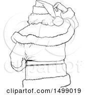 Clipart Of A Black And White Rear View Of Santa Claus Royalty Free Vector Illustration by dero
