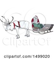 Clipart Of A White Christmas Reindeer And Santa At A Sleigh Royalty Free Vector Illustration by dero