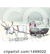 Clipart Of A Christmas Reindeer And Santa With A Sleigh In The Snow Royalty Free Vector Illustration by dero