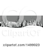 Clipart Of A Border Of Snow Flocked Evergreen Trees Royalty Free Vector Illustration