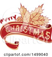 Clipart Of A Merry Christmas Greeting Design With Holly Royalty Free Vector Illustration