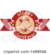 Clipart Of A Merry Christmas Greeting Design With Bells Royalty Free Vector Illustration