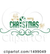 Clipart Of A Christmas Greeting Design Royalty Free Vector Illustration