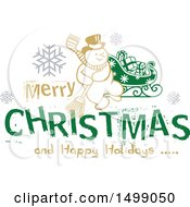 Clipart Of A Christmas Greeting Design With A Snowman Royalty Free Vector Illustration