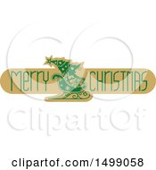 Merry Christmas Greeting Design With A Sleigh