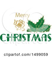 Christmas Greeting Design With Holly And A Bell