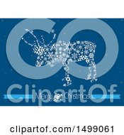 Reindeer Made Of Snowflakes Over Blue With Merry Christmas Text