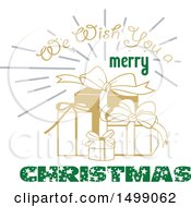 Clipart Of A Christmas Greeting Design With Gifts Royalty Free Vector Illustration