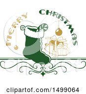 Clipart Of A Christmas Greeting Design With A Stocking Royalty Free Vector Illustration