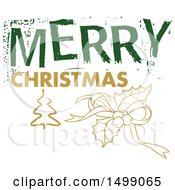 Clipart Of A Christmas Greeting Design With Holly Royalty Free Vector Illustration
