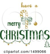 Clipart Of A Christmas Greeting Design With A Candy Cane Royalty Free Vector Illustration