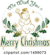 Christmas Greeting Design With A Snowman