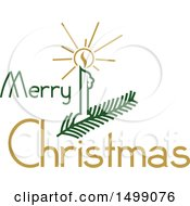 Christmas Greeting Design With A Candle