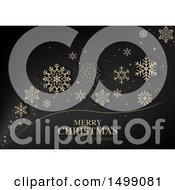 Black Background With Merry Christmas And Happy Holiday Text And Snowflakes