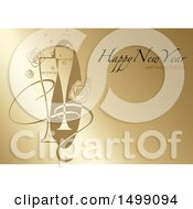 Happy New Year And Happy Holidays Greeting With Champagne On Gold Lines