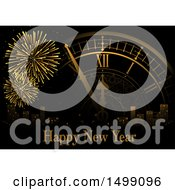 Clipart Of A Happy New Year Greeting With Fireworks A Clock And City Royalty Free Vector Illustration by dero