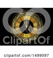 Clipart Of A Golden New Year Clock Face With Stars Royalty Free Vector Illustration by dero
