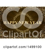 Happy New Year Greeting With Glitter Stars And Rays