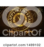 Clipart Of A Golden Happy New Year Clock And Fireworks On Brown Royalty Free Vector Illustration