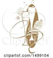 Clipart Of A Pair Of Champagne Flutes With A Ribbon Bubbles And Roses Royalty Free Vector Illustration by dero