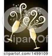 Champagne Toast With Two Glasses And Spirals