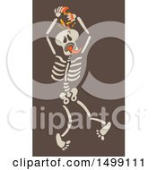 Halloween Skeleton Puncturing His Skull With A Hand Drill