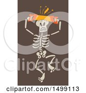 Clipart Of A Halloween Skeleton Sawing His Skull Royalty Free Vector Illustration
