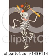 Clipart Of A Halloween Skeleton Striking His Skull With A Flail Royalty Free Vector Illustration