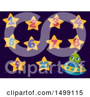 Clipart Of A Cute Alien Flying A Ufo And Star Numbers Royalty Free Vector Illustration by BNP Design Studio