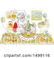 Clipart Of A Christmas Santa Claus Making A Cake Royalty Free Vector Illustration