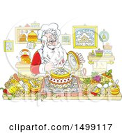 Clipart Of A Jolly Santa Claus Cooking Christmas Soup Royalty Free Vector Illustration