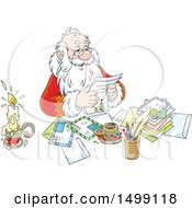 Clipart Of Santa Claus Reading Christmas Letters Royalty Free Vector Illustration