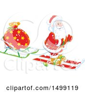 Clipart Of Santa Claus Skiing With A Christmas Sleigh Royalty Free Vector Illustration