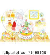 Clipart Of A Christmas Santa Baking A Cake Royalty Free Vector Illustration