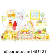 Clipart Of Santa Cooking Christmas Soup Royalty Free Vector Illustration