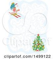 Clipart Of A Christmas Santa Skiing Maze Royalty Free Vector Illustration