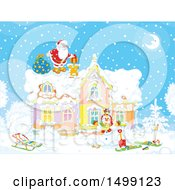 Clipart Of Santa Claus On A Roof Top On Christmas Eve Royalty Free Vector Illustration