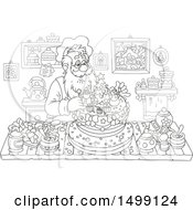 Clipart Of A Black And White Christmas Santa Claus Making A Cake Royalty Free Vector Illustration