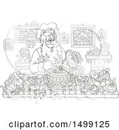 Clipart Of A Black And White Santa Claus Cooking Christmas Soup Royalty Free Vector Illustration
