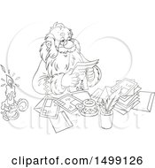 Clipart Of A Black And White Santa Claus Reading Christmas Letters Royalty Free Vector Illustration