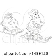 Clipart Of A Black And White Santa Claus Skiing With A Christmas Sleigh Royalty Free Vector Illustration