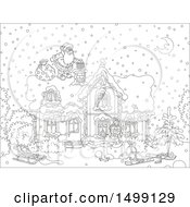 Clipart Of A Black And White Santa Claus On A Roof Top On Christmas Eve Royalty Free Vector Illustration