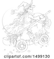 Clipart Of A Black And White Halloween Witch And Pumpkin Carriage Royalty Free Vector Illustration by Alex Bannykh