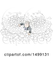 Clipart Of A White Business Man Drowning In Paper Work Royalty Free Vector Illustration by Alex Bannykh