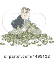 Clipart Of A White Business Man In A Pile Of Cash Money Royalty Free Vector Illustration by Alex Bannykh