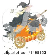 Clipart Of A Halloween Witch And Jackolantern Pumpkin Carriage Royalty Free Vector Illustration by Alex Bannykh