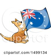 Clipart Of A Kangaroo Holding An Australia Flag Royalty Free Vector Illustration