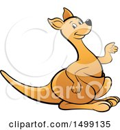 Clipart Of A Kangaroo Presenting Royalty Free Vector Illustration