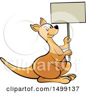 Clipart Of A Kangaroo Holding A Blank Sign Royalty Free Vector Illustration by Lal Perera