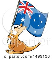 Clipart Of A Kangaroo Holding An Australian Flag Royalty Free Vector Illustration by Lal Perera